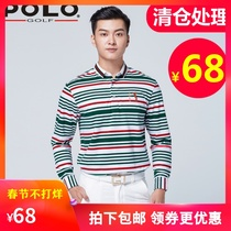 Clearance Pologolf Golf Costume Jersey Mens long-sleeved ball suit top cotton t-shirt sweatshirt