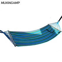 MUXINCAMP outdoor indoor hammock single with a stick with a pillow thick canvas hammock swing with a bag