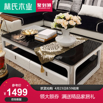 Lins wood modern minimalist living room stainless steel coffee table table tempered glass rectangular fashion table y-CJ