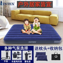 intex thickened inflatable mattress single double household 3-4 people 1.8m outdoor camping portable folding air cushion bed