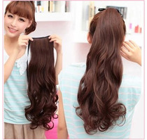 Real hair wig female long ponytail 100%bandage style long curly hair realistic Big Wave live hair caught clip ponytail