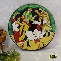 Xinjiang ethnic musical instruments thick leather characters painted tambourine (25 cm) leather tambourine