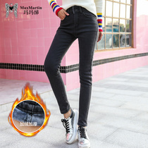 Marma Betty 2018 Winter New Korean version thickened plush jeans trousers womens high waist slimming small pants Tide
