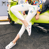 Marma Betty 2018 Summer dress new fashion slimming white Jeans personality Korean edition embroidery Small Foot Nine pants female