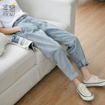Jeans autumn spring and autumn 2019 new students loose pants was thin high waist light straight thin trousers