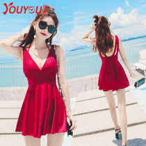 Lady bathing suit conservative South Korea small chest gather big code shade skinny skirt hot spring bathing suit