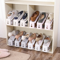 Household double-layer shoes storage rack plastic space-saving one-piece shoe care simple wardrobe simple storage shoe rack