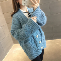 2019 spring new womens Korean version of the V-neck solid color sweater womens cardigan loose lazy pocket sweater coat