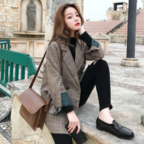 Small suit jacket female loose 2019 spring and autumn new Korean fashion retro Korean early autumn plaid suit shirt
