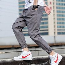 2019 spring and autumn new mens Korean version of the trend of loose tooling trousers beam Feet Sports and leisure nine pants summer