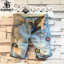 sundipy mens summer denim shorts tide male handsome pants casual shorts personality hole stickers shorts