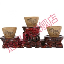 Decoration base bracket solid wood round purple teapot Buddha small vases crafts multi-fleshy flowerpot tray square
