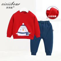 Qi Qi bear boys and girls Winter section does not fall down warm suit infants New Year models embroidered cloth out two sets