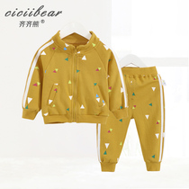 Qi Qi bear spring 2019 men and women baby geometric printing terry cotton set infants out two sets
