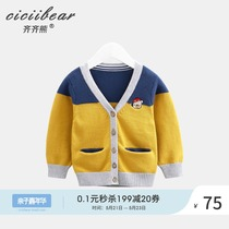 Qi Qi bear infant spring clothes cotton cardigan jacket 0-1-3 years old male and female baby V-neck knit sweater