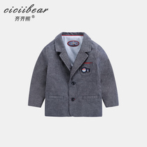 Qi Qi bear 2019 baby spring casual small suit jacket infant cartoon bear patch pocket shirt Korean version