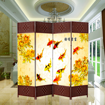 Chinese screen partition living room folding mobile fashion cloth simple modern folding screen curtain rattan custom