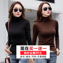 2 59)2019 autumn and Winter new bottoming shirt womens high collar tight-fitting clothes slim cotton long-sleeved T-shirt