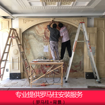 TV background wall tile ceramic stone provide professional master marble Roman column background wall installation service