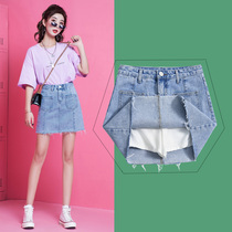 Denim skirt skirt female Summer 2019 New ins Super fire skirt high waist a word skirt women bag hip skirt