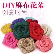 DIY handmade burlap rose flower decorative flowers accessories creative with ornaments cloth flowers