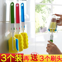 3 pack long handle sponge Cup brush glass cleaning brush insulation cup rinse bottle handle decontamination cleaning brush