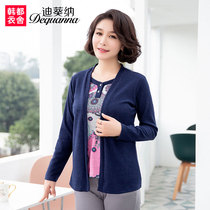 Old and middle-aged womens clothing 2019 spring dress new middle-aged top mother pretending fashion fake two long-sleeved T-shirt WQ7996