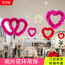 Tanabata shop decoration creative Valentines day jewelry shop bar love ceiling ornaments ornaments decoration supplies