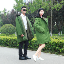 Cotton coat military coat cold coat removable cotton coat winter cold clothing men and women thickened yellow coat
