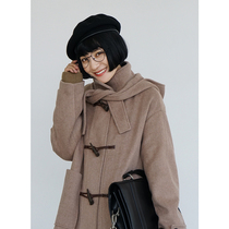 omont Egg Tart home retro loose Horn buckle woolen jacket female students thickened long section over the knee coat winter