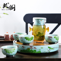 Mei GE home heat-resistant glass tea hand-painted ceramic black tea cup teapot tea simple bubble tea tea