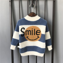 Childrens clothing boys Mink cashmere sweater 2019 new winter large children thick knit childrens winter hedging clothing