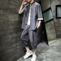 Chinese style mens summer short-sleeved Han mens Tang suit youth tunic thin section linen suit tide large size jacket
