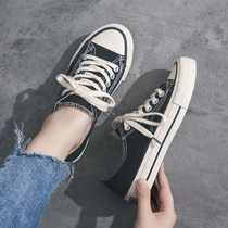 Canvas shoes female Korean version 2019 spring and summer new black cloth shoes low to help wild shoes shoes flat shoes white shoes