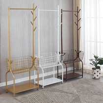 Hanger floor-to-ceiling bedroom iron coat cap rack double-rod net red property rack door entrance shoe rack hanger one