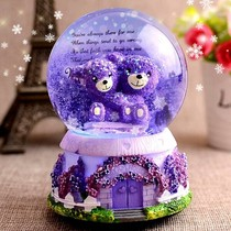 Glowing glass ball Snowflake music box crystal ball new snow spinning swing slot boys dream ball transparent