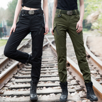 High waist overalls female summer stretch straight tube was thin military tactical Special Forces uniform pants army green pants