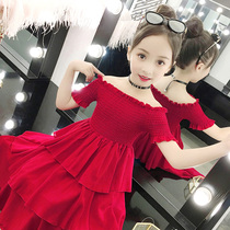 Girls dress 2019 summer new mother and daughter style word shoulder cake skirt parent-child childrens net red princess