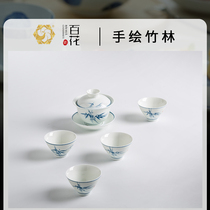 Jingdezhen porcelain hundred flower cover bowl three-only bowl tea set pure hand-painted not hot hand thin tire gift home
