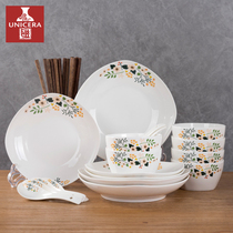 Tableware dishes set home meal 6 4 people personality fresh Chinese simple ceramic bowl chopsticks Bowl combination