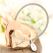 Love keychain female car key pendant simple key chain creative key ring ring Simple Storage round