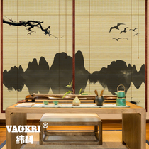 Chinese style bamboo curtain shutter curtain lift retro Zen 3D inkjet landscape landscape screen partition curtain