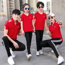 Parent-child summer wear 2020 new chao a family of three four suit mother and daughter sports casual family wear.