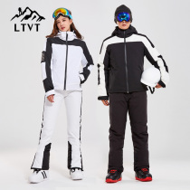 LTVT double board ski suit couple ski pants men and women single and double board waterproof thickened Sling removable