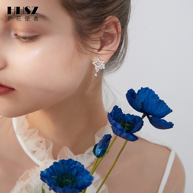Flower protector 925 silver needle new star earring earrings female temperament Korean personality Europe and the United States earless ear clip.