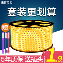 220V super bright led light strip 2835 double row lights with home living room ceiling light slot outdoor waterproof light strip