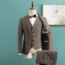 Suit Suit male three-piece suit slim casual Korean business suits British style small suit groom wedding dress