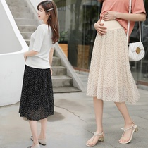 Plus fertilizer to increase the size of pregnant women summer skirt loose fat MM waichuan chiffon wave point pleated a word skirt 200 pounds tide