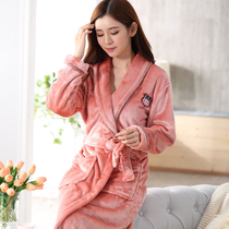 Flannel Robe Female winter thickening plus long coral velvet bathrobe female winter Lady robe Winter Warm Pajamas