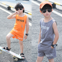 Childrens clothing boys summer vest suit 2019 new large childrens childrens sleeveless cotton vest two-piece